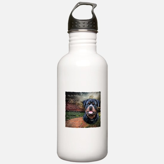 """Why God Made Dogs"" Rottweiler Water Bottle"