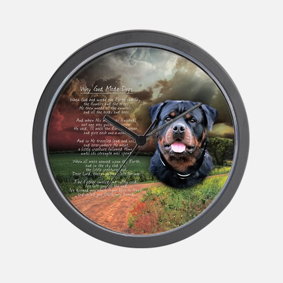"""Why God Made Dogs"" Rottweiler Wall Clock"
