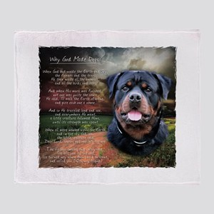 """Why God Made Dogs"" Rottweiler Throw Blanket"