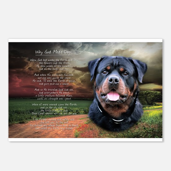 """""""Why God Made Dogs"""" Rottweiler Postcards (Package"""