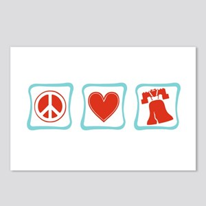 Peace, Love and Liberty Postcards (Package of 8)