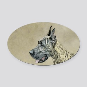Great Dane (Brindle) Oval Car Magnet