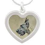 Great Dane (Brindle) Silver Heart Necklace