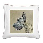Great Dane (Brindle) Square Canvas Pillow