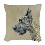 Great Dane (Brindle) Woven Throw Pillow