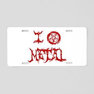I Love Metal (red distortion) Aluminum License Pla
