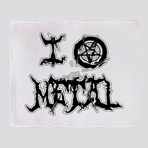 I Love Metal (blk/wht distortion) Throw Blanket