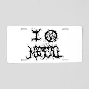 I Love Metal (blk/wht dist Aluminum License Plate