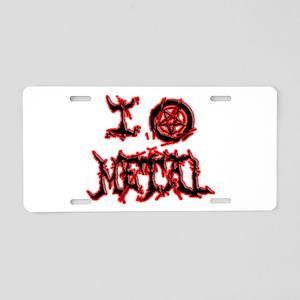 I Love Metal (blk/red disto Aluminum License Plate