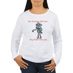 Women's Long Sleeve T-ShirtFrntSingDanceBkMusicMir