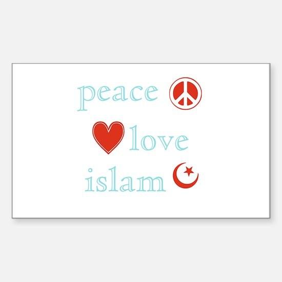 Peace, Love and Islam Sticker (Rectangle)