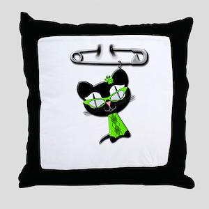 Irish Kitty Charm Throw Pillow