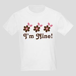 9th Birthday Flowers Kids Light T-Shirt
