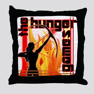 Katniss on Fire Hunger Games Gear Throw Pillow