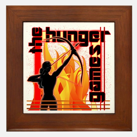 Katniss on Fire Hunger Games Gear Framed Tile