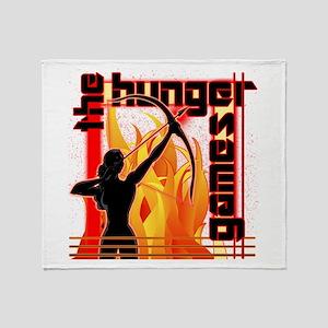 Katniss on Fire Hunger Games Gear Throw Blanket
