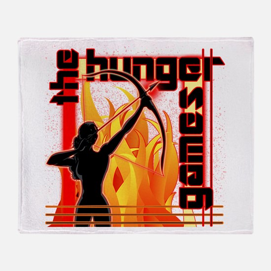 Katniss on Fire Hunger Games Gear Throw Blanket