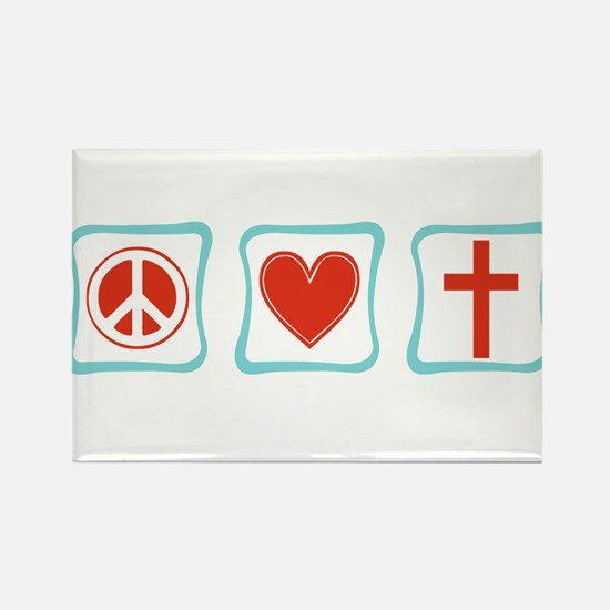 Peace, Love and Christianity Rectangle Magnet
