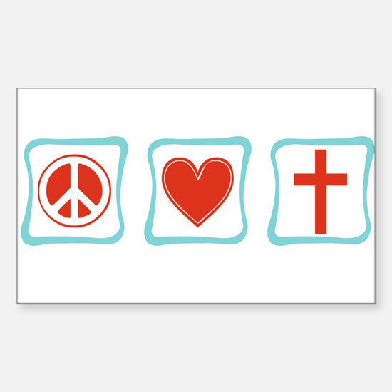 Peace, Love and Christianity Sticker (Rectangle)