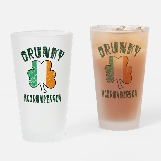 Irish Drunky Drinking Glass