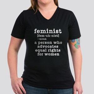 Feminist Definition Women's V-Neck Dark T-Shirt