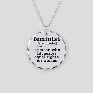 Feminist Definition Necklace Circle Charm