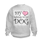 Heart Belongs to Dog Kids Sweatshirt