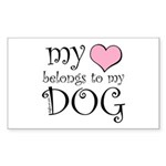 Heart Belongs to Dog Rectangle Sticker