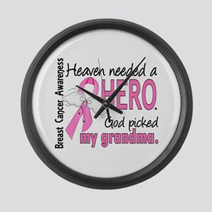 Heaven Needed a Hero Breast Cancer Large Wall Cloc