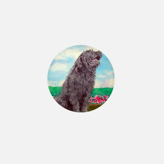 Black Labradoodle and Butterf Mini Button