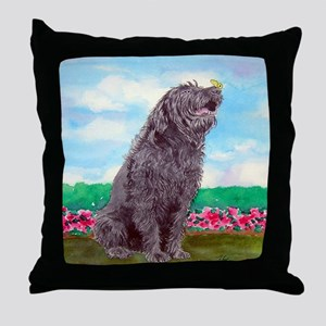 Black Labradoodle and Butterf Throw Pillow
