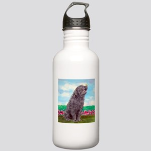 Black Labradoodle and Butterf Stainless Water Bott