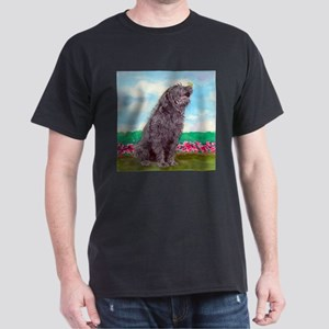 Black Labradoodle and Butterf Dark T-Shirt