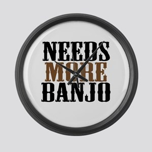 Needs More Banjo Large Wall Clock