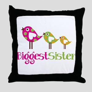 Tweet Birds Biggest Sister Throw Pillow