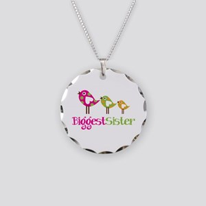Tweet Birds Biggest Sister Necklace Circle Charm