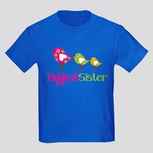 Tweet Birds Biggest Sister Kids Dark T-Shirt