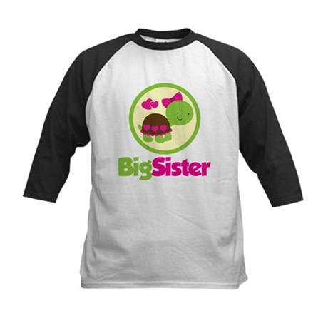 Turtle Big Sister Kids Baseball Jersey
