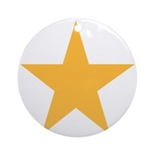 Five Pointed Yellow Star Ornament (Round)