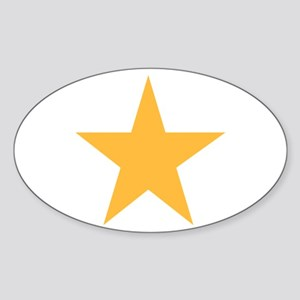 Five Pointed Yellow Star Sticker (Oval)
