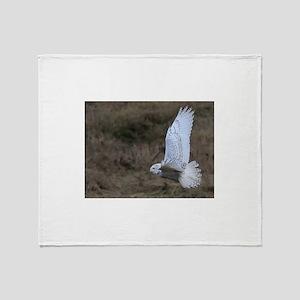 Snowy Owl flying Throw Blanket