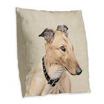 Greyhound Burlap Throw Pillow