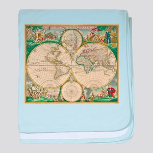 Vintage Map of The World (1670) baby blanket