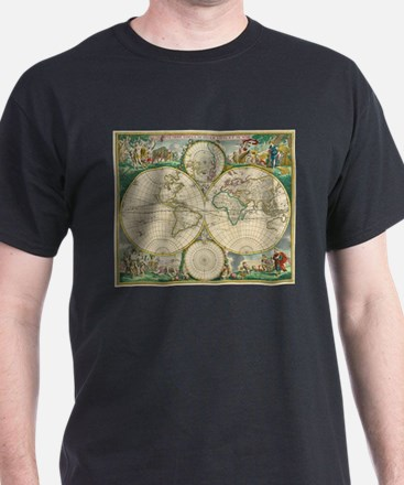 Vintage Map of The World (1670) T-Shirt