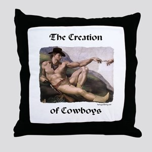 Creation of Cowboys Throw Pillow