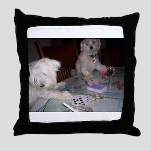 Poker Puppy Throw Pillow