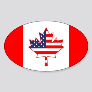 Dual Canada USA Oval Flag Sticker