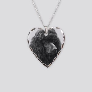 Black or Chocolate Poodle Necklace Heart Charm