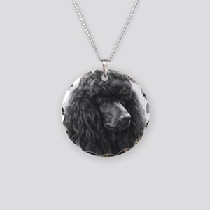 Black or Chocolate Poodle Necklace Circle Charm