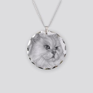 Persian Cat Necklace Circle Charm